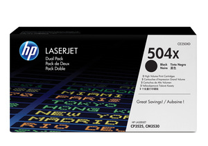 hp ce250xd - toner noir laserjet cp3525 cm3530 longue durée pack de 2 (504x)