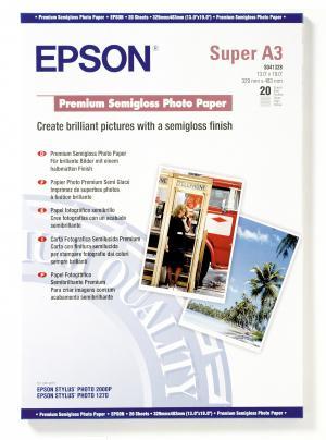 epson s041328 - papier photo premium semi-glacé a3+ 251g/m2 - 20 feuilles