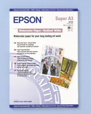 epson s041352 - papier aquarelle blanc a3+ 190g/m2 - 20 feuilles
