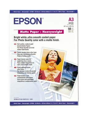 epson s041261 - papier mat épais a3 167g/m2 - 50 feuilles