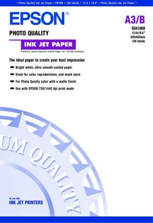 epson s041069 - papier couché qualité photo a3+ 102g/m2 - 100 feuilles