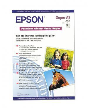 epson s041316 - papier photo premium glacé a3+ 255g/m2 - 20 feuilles