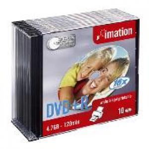 imation 22374 - dvd+r 4,7gb 16x - slim - pack de 10 - imprimable jet d'encre
