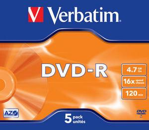 verbatim 43519 - dvd-r 4,7gb 16x - pack de 5