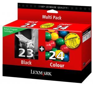 lexmark 18c1419 - cartouche encre noire n° 23 (lrp) + couleur n° 24 (lrp)